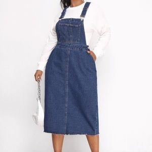 SHEIN Denim Overall Dress Raw Hem (Runs Small)